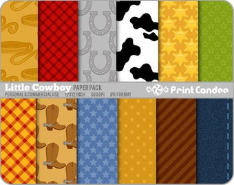 Little Cowboy Paper Pack (12 Sheets) - Personal and Commercial Use - cowboy boots sheriff star horse shoe