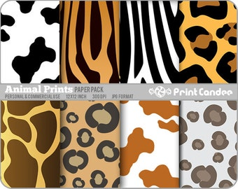 Animal Prints Paper Pack (8 Sheets) - Personal and Commercial Use - animal skin giraffe cheetah cow