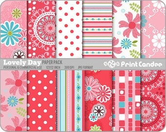 Lovely Day Paper Pack (12 Sheets) - Personal and Commercial Use - blue pink modern sweet cute pretty dots circles flowers