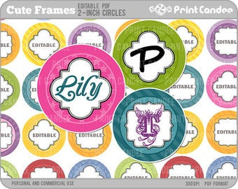 2 Inch - Editable PDF (8x10) - Cute Frames Digital Collage Sheet (No. 209B) -  2 Inch Circles