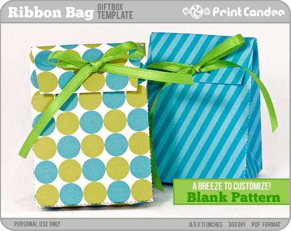 Gift Box Blank Template - Ribbon Bag - Personal Use Only - Printable - DIY