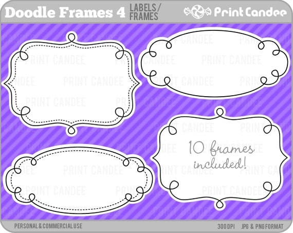 Doodle Frames 4 - Personal and Commercial Use - digital clipart frames clip art cute modern label