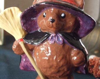 Little Halloween Witch Bear with Broom Glazed Ceramic Figurine FREE SHIPPING