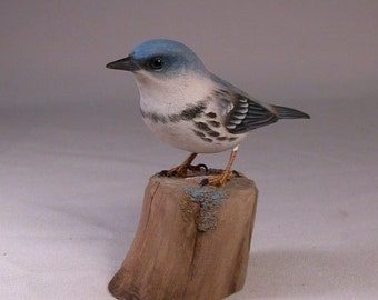 Cerulean Warbler Wood Carving Carved Wooden Bird