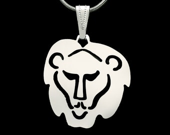 LION HEAD PENDANT on 16 inch neck chain, all silver plated