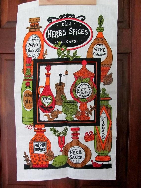 Vintage Linen Herbs Spices Oils Vinegars 1970s Kitchen Towel Signed