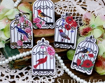 5pcs Handmade Colorful Lovely Birdcage Charms / Pendants (CWI02)