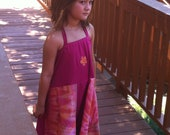 Groovy handmade pink tie dye girls' spinny dress, size 8/9
