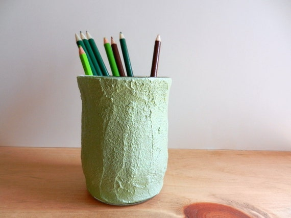 green pencil holder / green office decor / light green cup / handcrafted pencil cup
