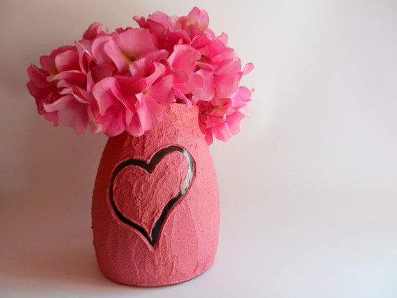 Pink Vase with carved heart / pink Home Decor / love vase /  pink flower vase