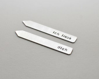 Ich liebe dich sterling silver collar stays with I love you in German
