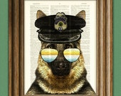 German Shepherd Art Print ' K9 Rex' Police Dog beautifully upcycled vintage dictionary page book art print