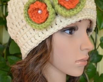 Sale Women,Teen Crochet Sweet flower Hat  In Aran ( New 08 )