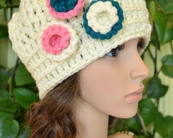Sale Crochet Women,Teen Aran With 3 Flower hat (New 02)