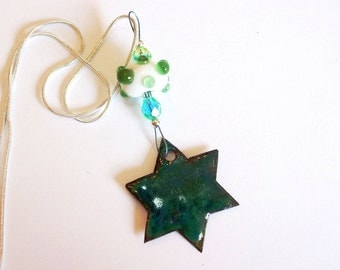 Emerald Green Enameled Star of David with Lampwork Bead