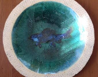 SALE Japanese MASHIKO studio pottery fish charger MINGEI
