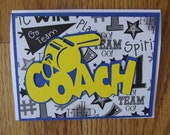 Thank You Cheerleading Coach Card or any Sport - Perfect to use for a Coach's End of the Year Gift