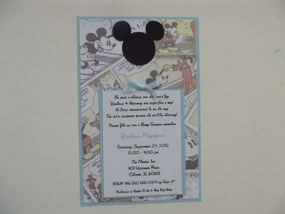 Classic Mickey Mouse Invitations Vintage Mickey Invitations Mickey Blue Party Baby Shower Invitations Invite Birthday Party Invitation