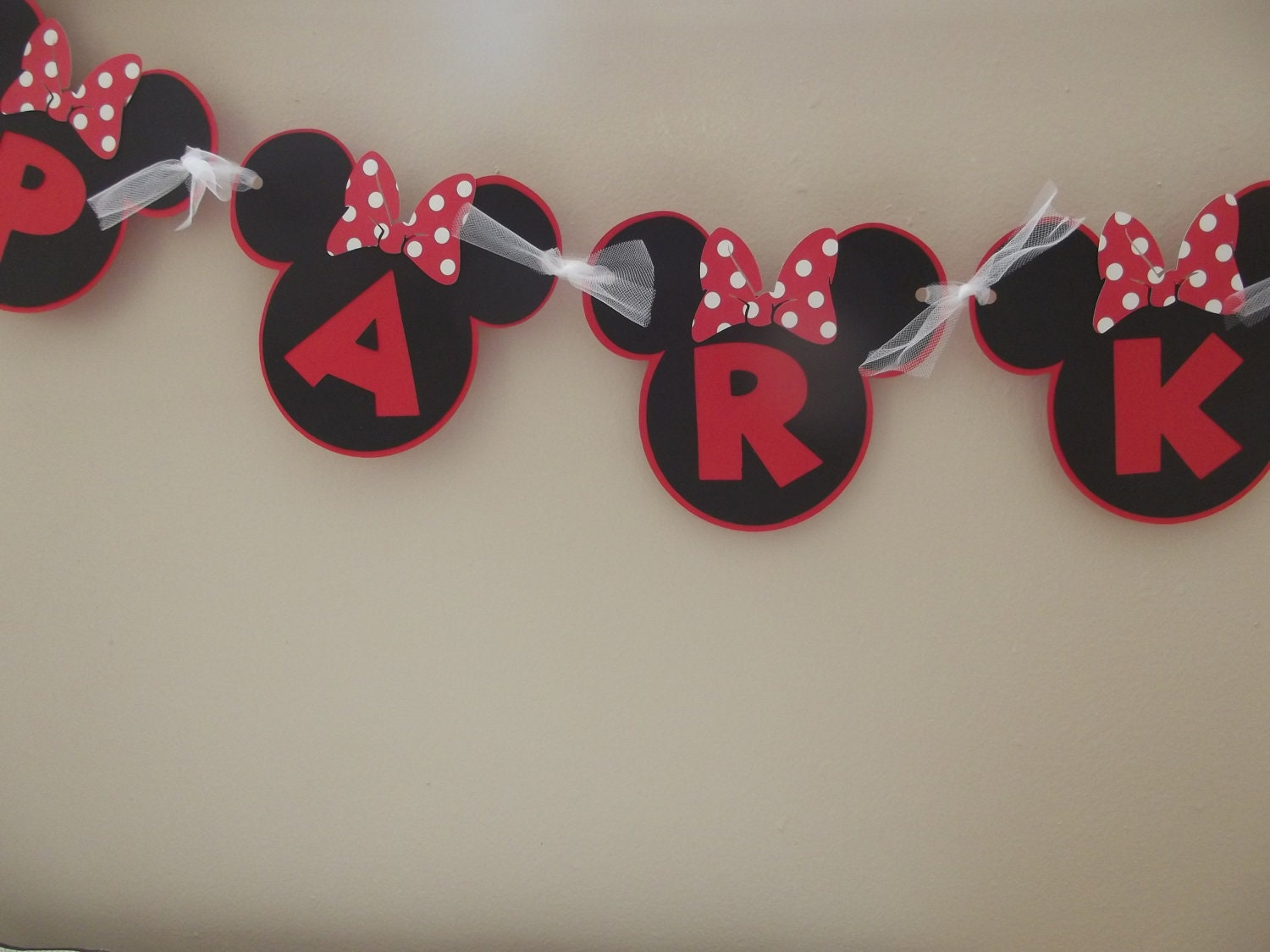 Red Minnie Mouse Inspired Banner Birthday by whimsycreationsbyann