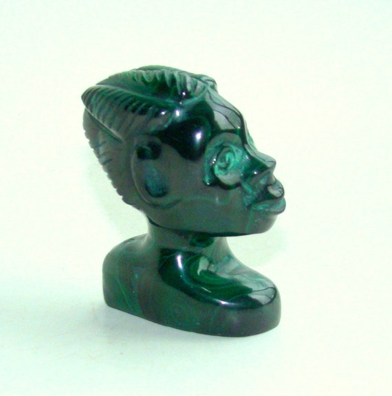 Natural malachite African Girl hand carved figurine