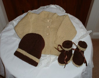 cute little Cardigan bootees  and hat set