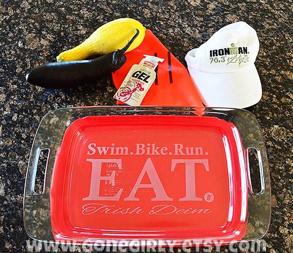 Triathlon Inspired  Etched Pyrex Baking Dish