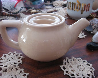 "Tepco China Teapot USA Beige Heavy Restaurant Ware c.1950 Vitrified China 3"" Tall"