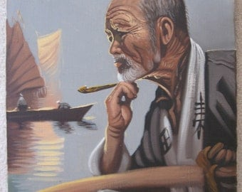 Vintage Signed Oriental Asian Oil Painting Portrait Landscape Elder Man On Boat Pipe Oars 1960 Era