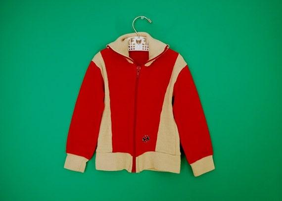 Vintage 1970s Zip Front Sweatshirt- Size 2T