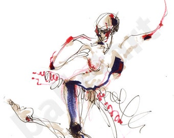 independence day art, red white and blue, ballet art, ballerina, dance gifts, dance artwork, ballet painting, girls room art, girls room art
