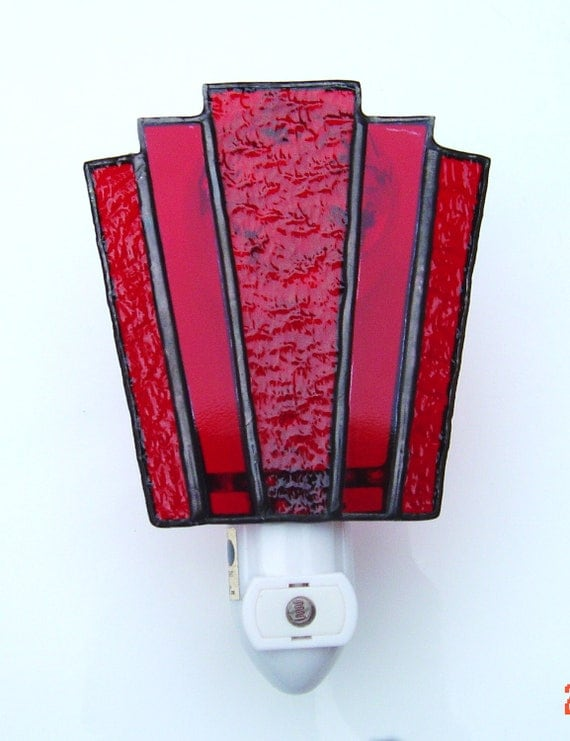 Automatic Handmade Ruby Red Stained Glass Night Light with photo sensor base