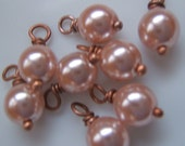 10 - Hand wrapped 6mm Romantic Dusty Rose Glass Pearl Dangles-Charms