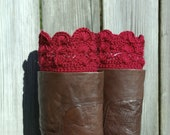 Lace Boot Cuffs, Crochet Boot Cuffs in Scarlet Red Crochet Boot Toppers Boot Socks