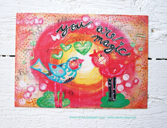8 unique mixed media Postcards / 8 unieke mixed media ansichtkaarten