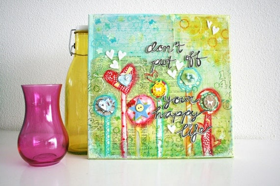 ON SALE How to create a lovely mixed media canvas - pdf tutorial - REV it up in English & Dutch