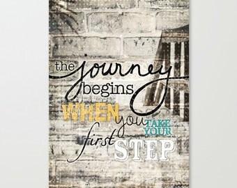 Journey Begins - Typography Word Art Print