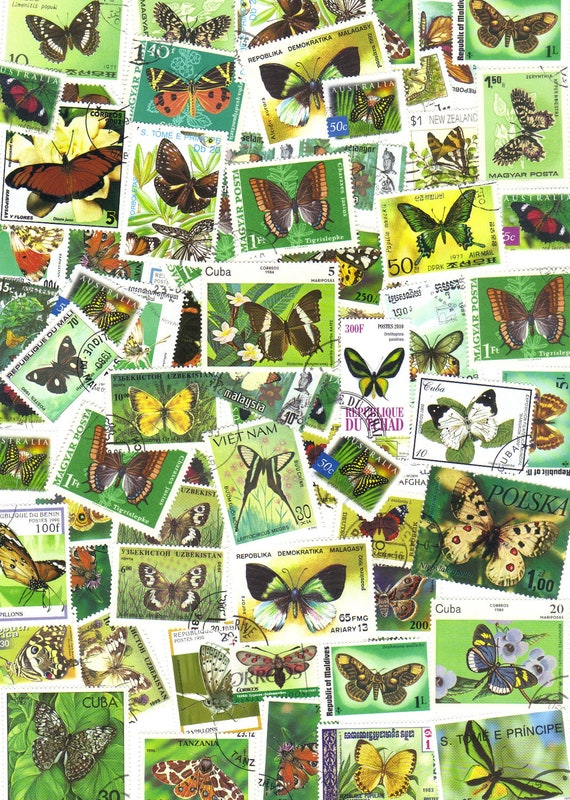 25 Butterfly green - vintage postage stamps