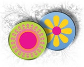 INSTANT DOWNLOAD - Flowers 1 Inch Circles Digital Collage Sheet Download and Print