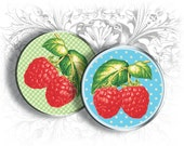 Raspberry 1 Inch Circles Digital Collage Sheet Download and Print