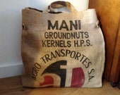 Big market/ shopping tote, made of an old burlap peanut sack from Argentina