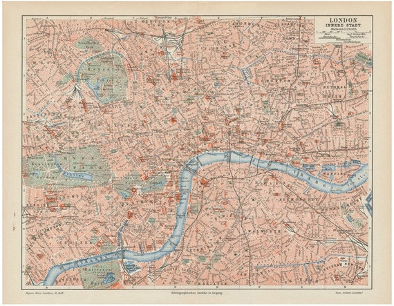 1894 london map original antique city view print of england olympic city