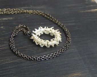 The Ouroboros (dead) Necklace.  Circle of snake vertebra necklace. Animal Bone Jewelry. snakebone necklace. tribal amulet. naga world