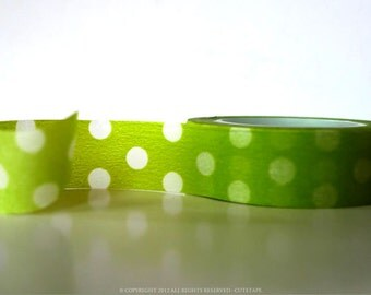 Green Washi Tape Apple Green Big Dots - Gift Wrapping, Packaging