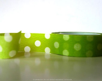 Green Washi Tape Apple Green Big Dots