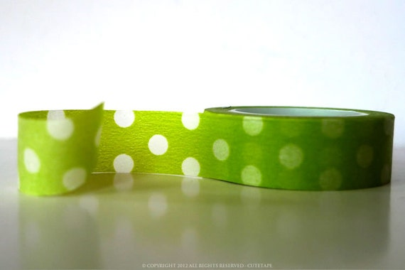 Green Washi Tape Apple Green Big Dots