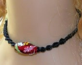 Black Hemp Choker Necklace With Red Floral Lampwork Focal Bead