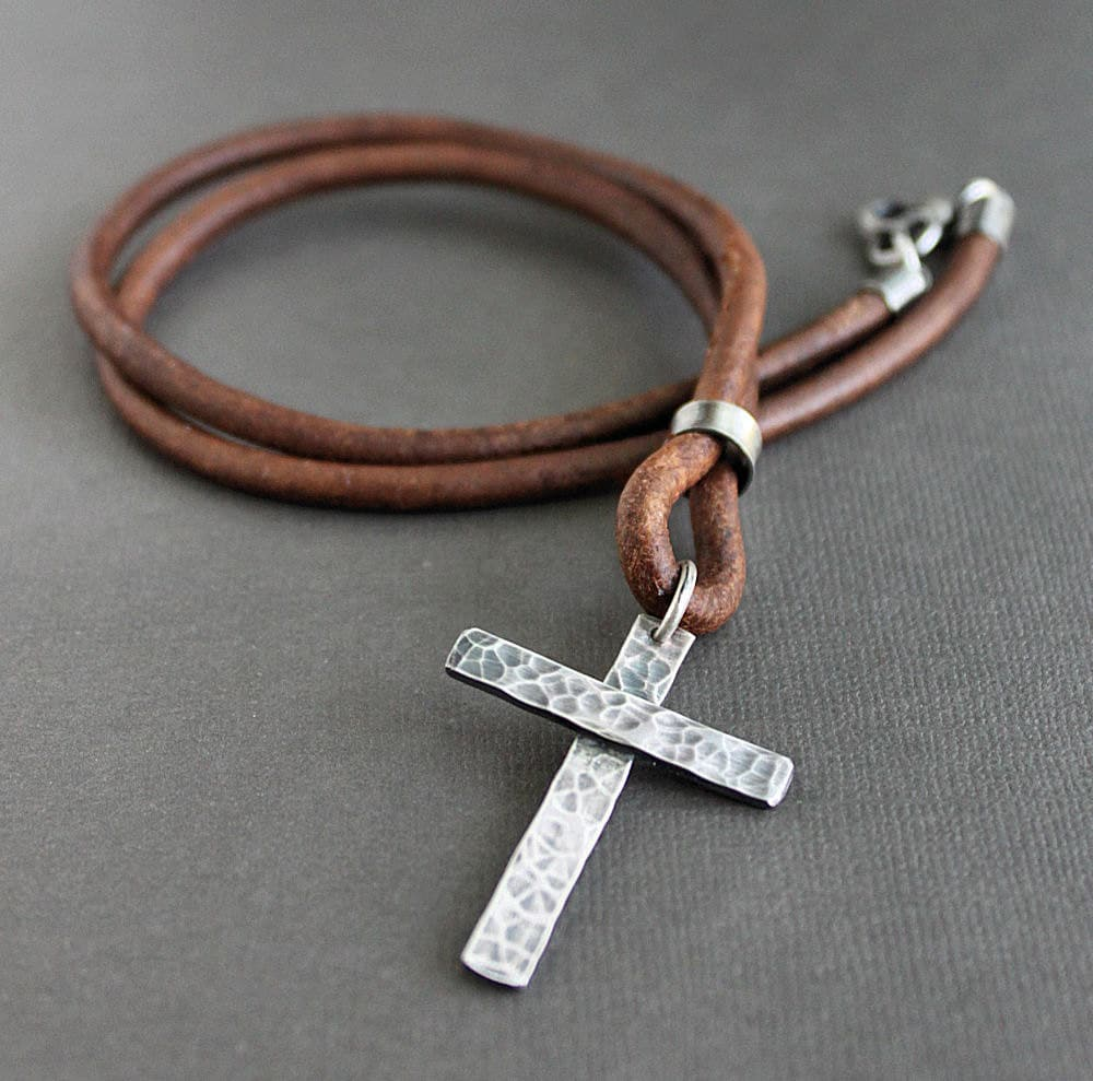 Mens Cross Leather Necklace Rustic Sterling Silver Light Brown