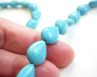 Turquoise Teardrop Beads 28pcs Turquoise Briolettes for Wire Wrapping Aqua Blue Pear Shaped Beads