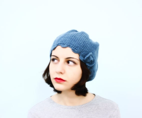 Cadet Blue French Beret with Flower - under 10 dollars