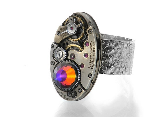 Volcano Crystal Steampunk Ring with Vintage Watch Movement - Adjustable Ring